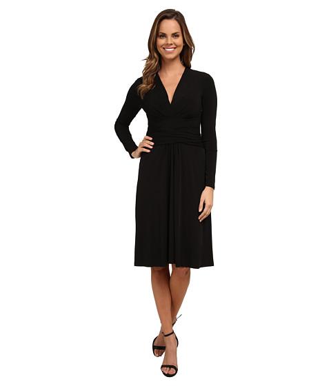 MICHAEL Michael Kors - Long Sleeve Faux Wrap Dress (Black) Women