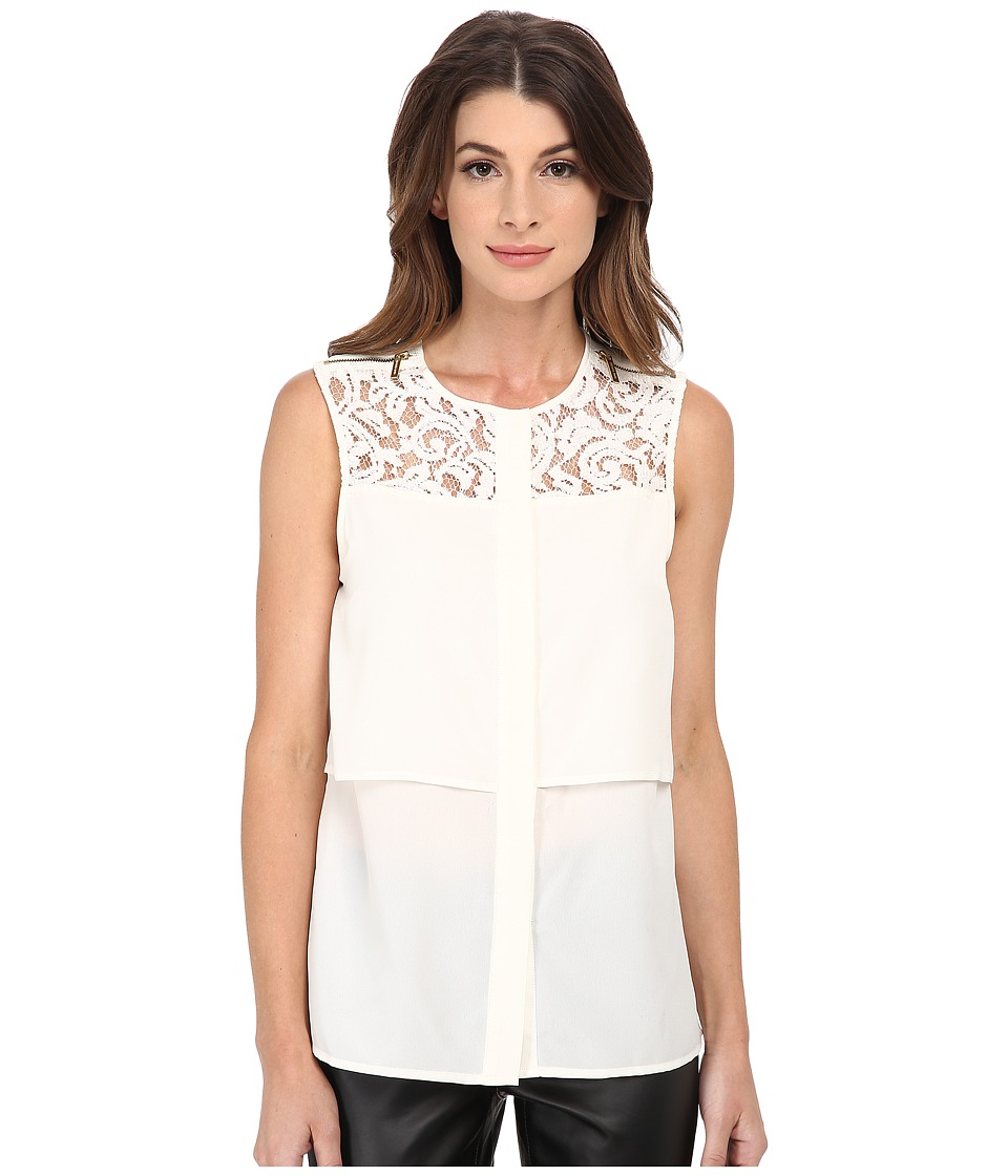 MICHAEL Michael Kors - Lace Yoke Blouse (Cream) Women's Blouse