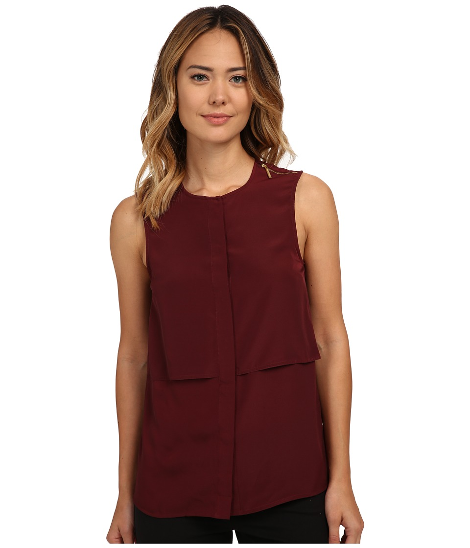 MICHAEL Michael Kors - Sleeveless Button Down Top (Merlot) Women's Sleeveless