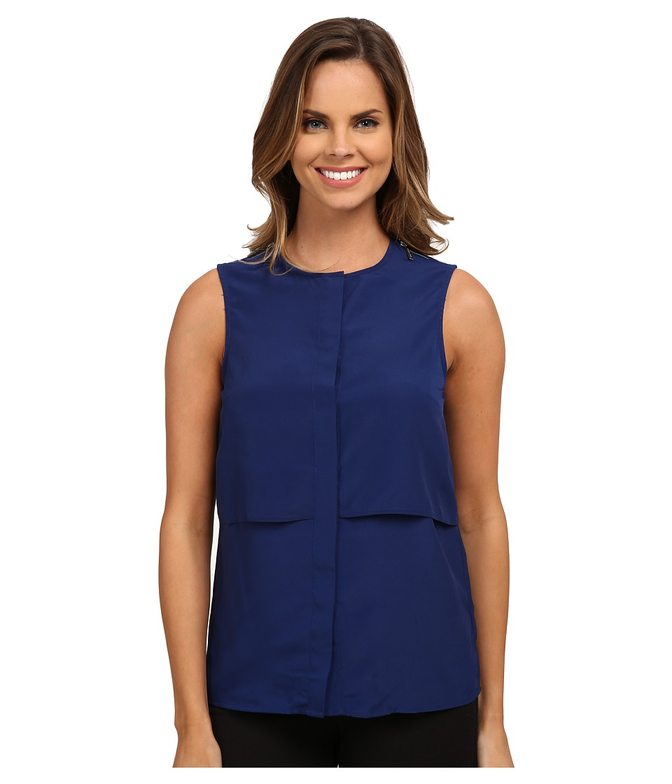 MICHAEL Michael Kors - Sleeveless Button Down Top (Sapphire) Women's Sleeveless