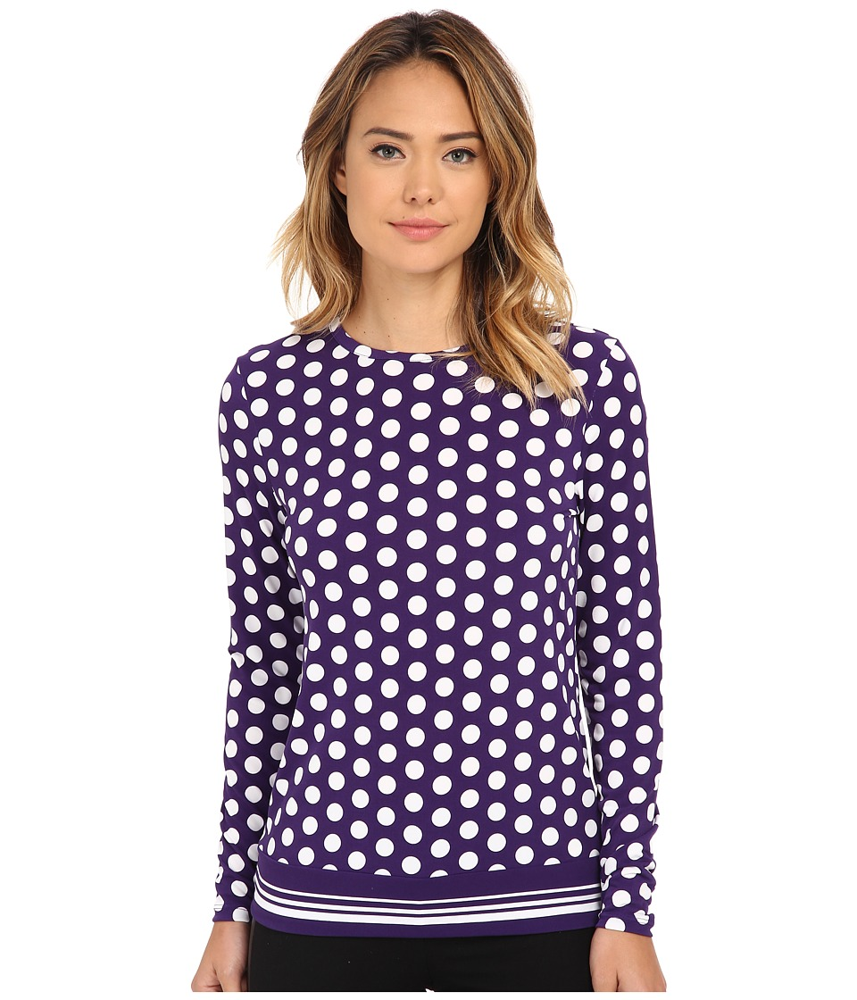 MICHAEL Michael Kors - Ana Dot Border Tee (Iris) Women's T Shirt