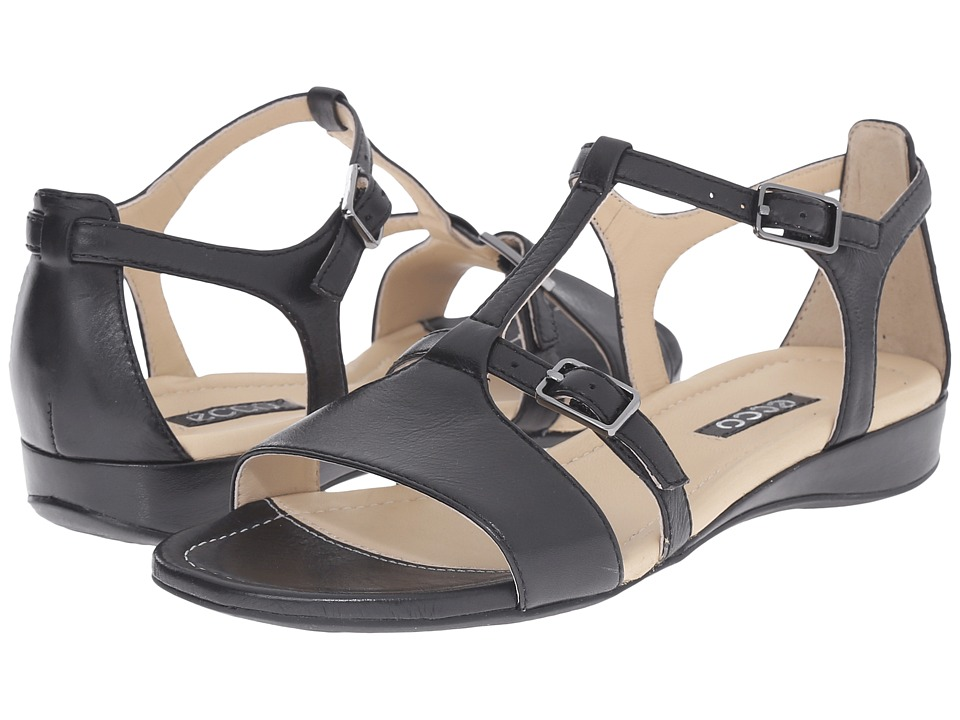 ECCO Boullion T-Strap Sandal (Black) Women