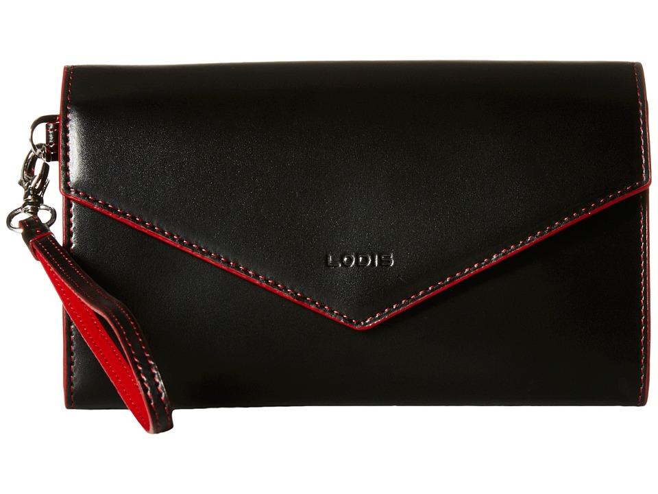 Lodis Accessories - Audrey Ellen Wristlet Wallet (Black/Red) Wallet Handbags