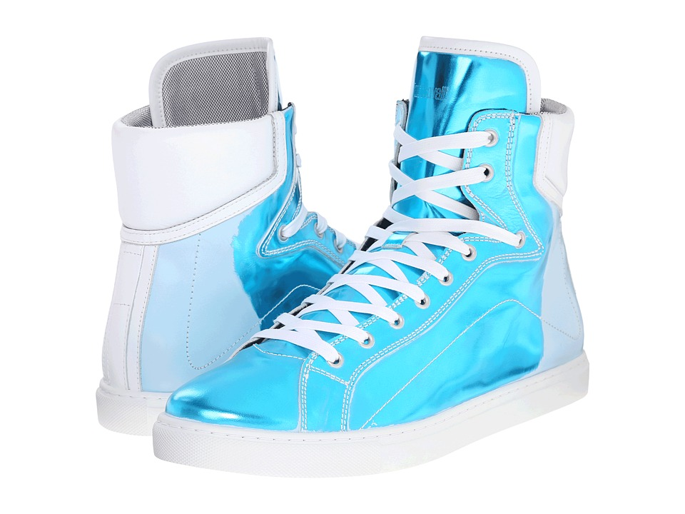 Just Cavalli - Hightop w/ Metallic Distressed Effect (Peacock Blue) Men's Shoes