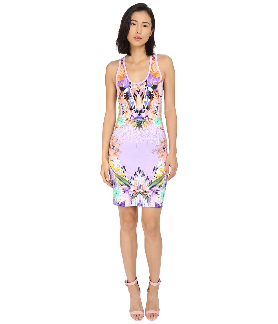 Just Cavalli Fitted Printed Jersey Tank Dress Leo Giraffe Print (Lux Violet) Women