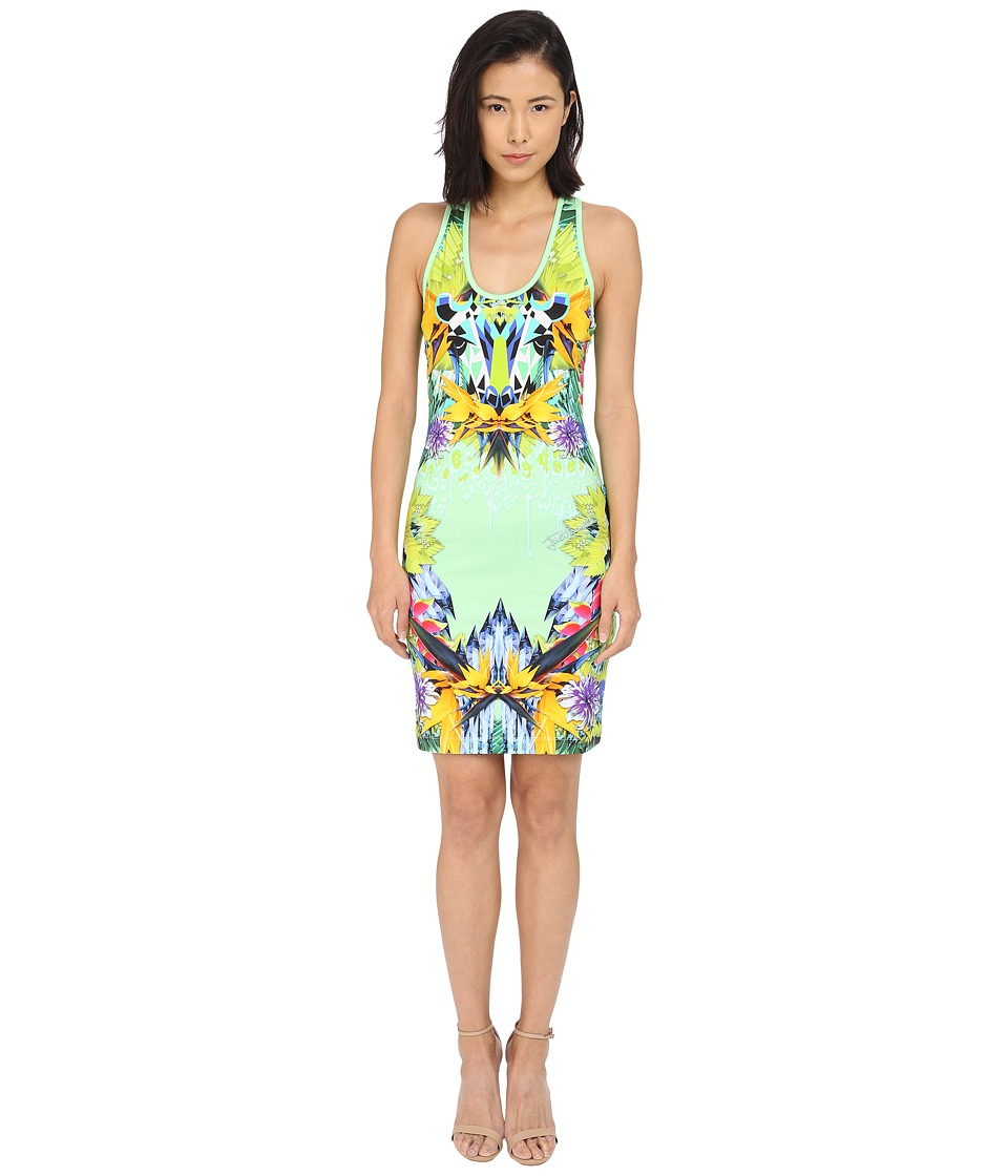 Just Cavalli - Fitted Printed Jersey Tank Dress Leo Giraffe Print (Lux Green) Women's Dress