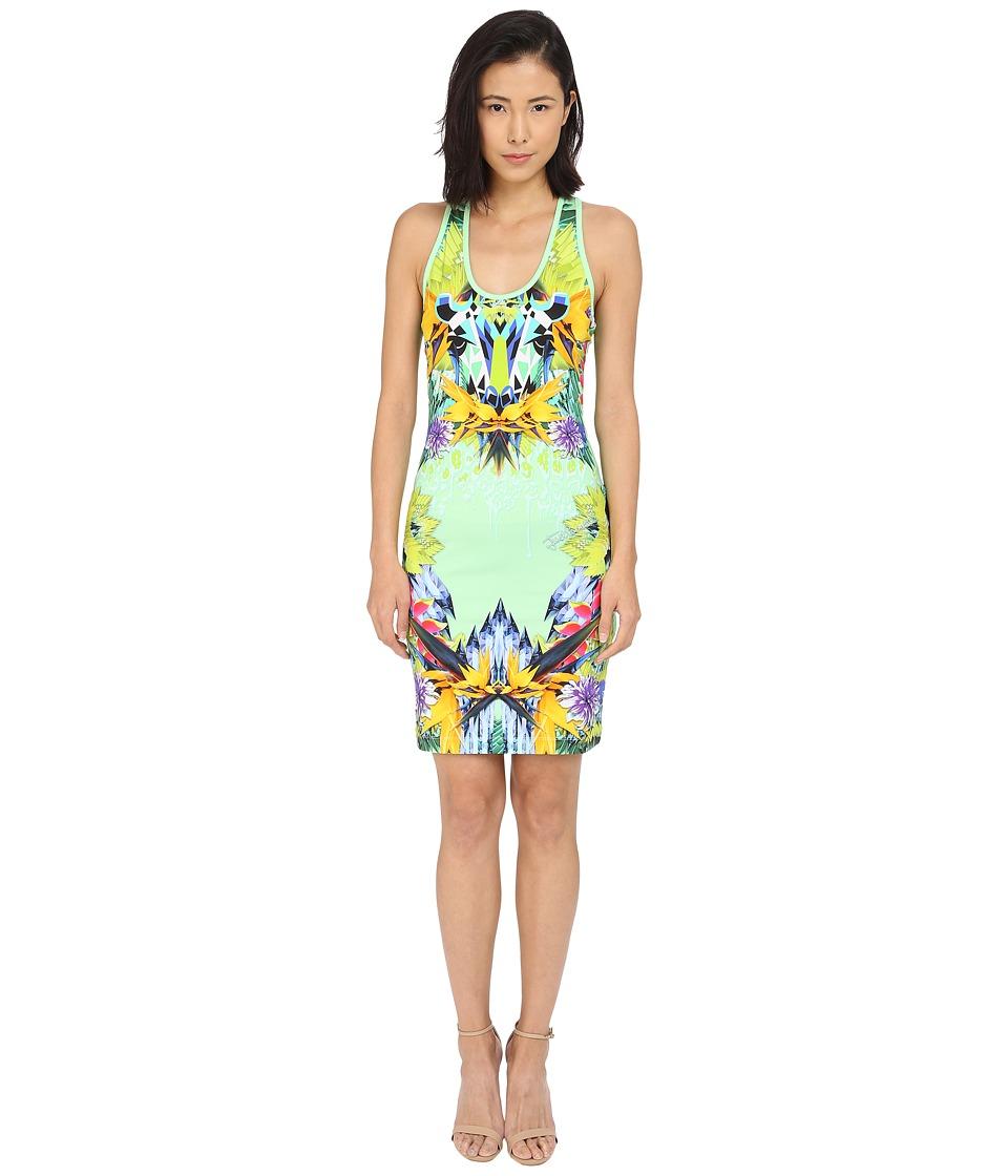 Just Cavalli - Fitted Printed Jersey Tank Dress Leo Giraffe Print (Lux Green) Women's Dress
