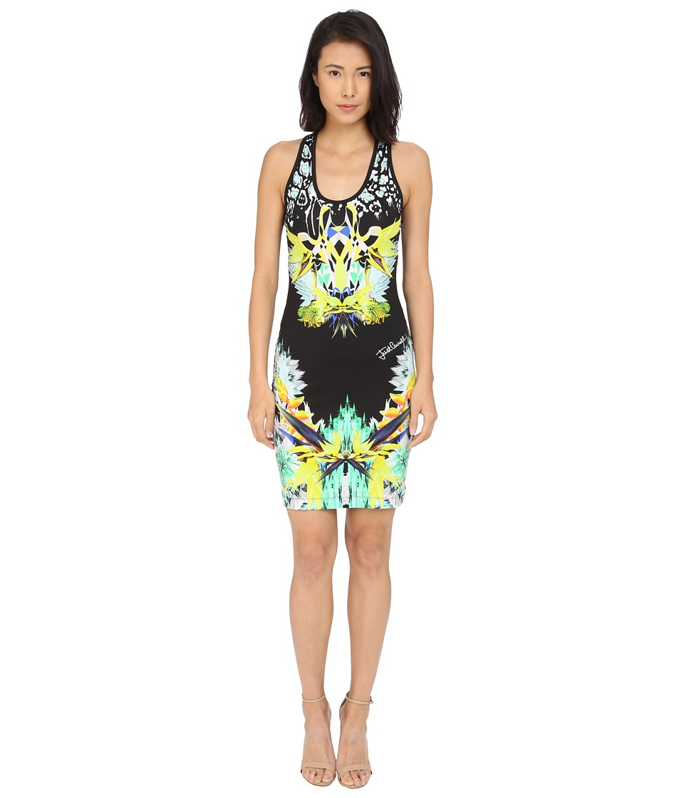 Just Cavalli - Fitted Printed Jersey Tank Dress Leo Giraffe Print (Black) Women's Dress