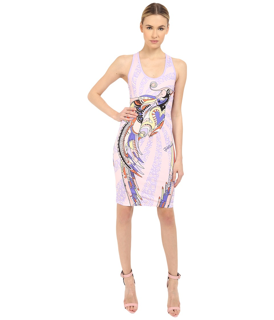 Just Cavalli Fitted Printed Jersey Tank Dress Leo Deco Print (Lux Violet) Women