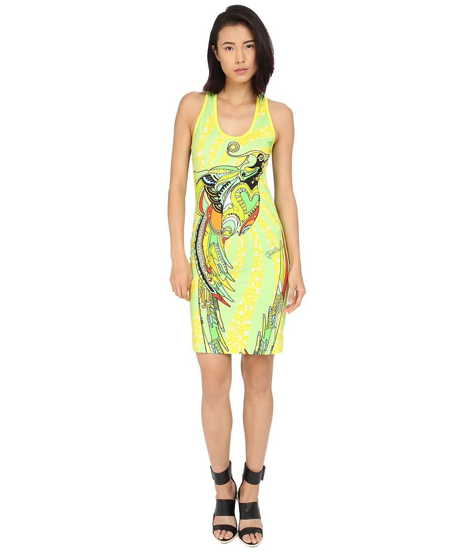 Just Cavalli - Fitted Printed Jersey Tank Dress Leo Deco Print (Lux Yellow) Women's Dress