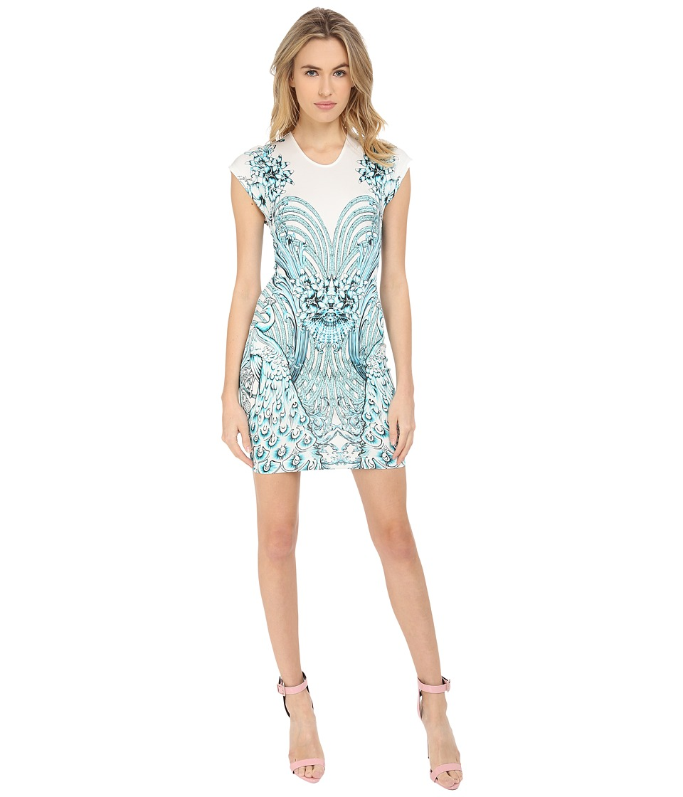 Just Cavalli - Fitted Printed Jersey Short Sleeve Dress Peacock Print (White) Women's Dress