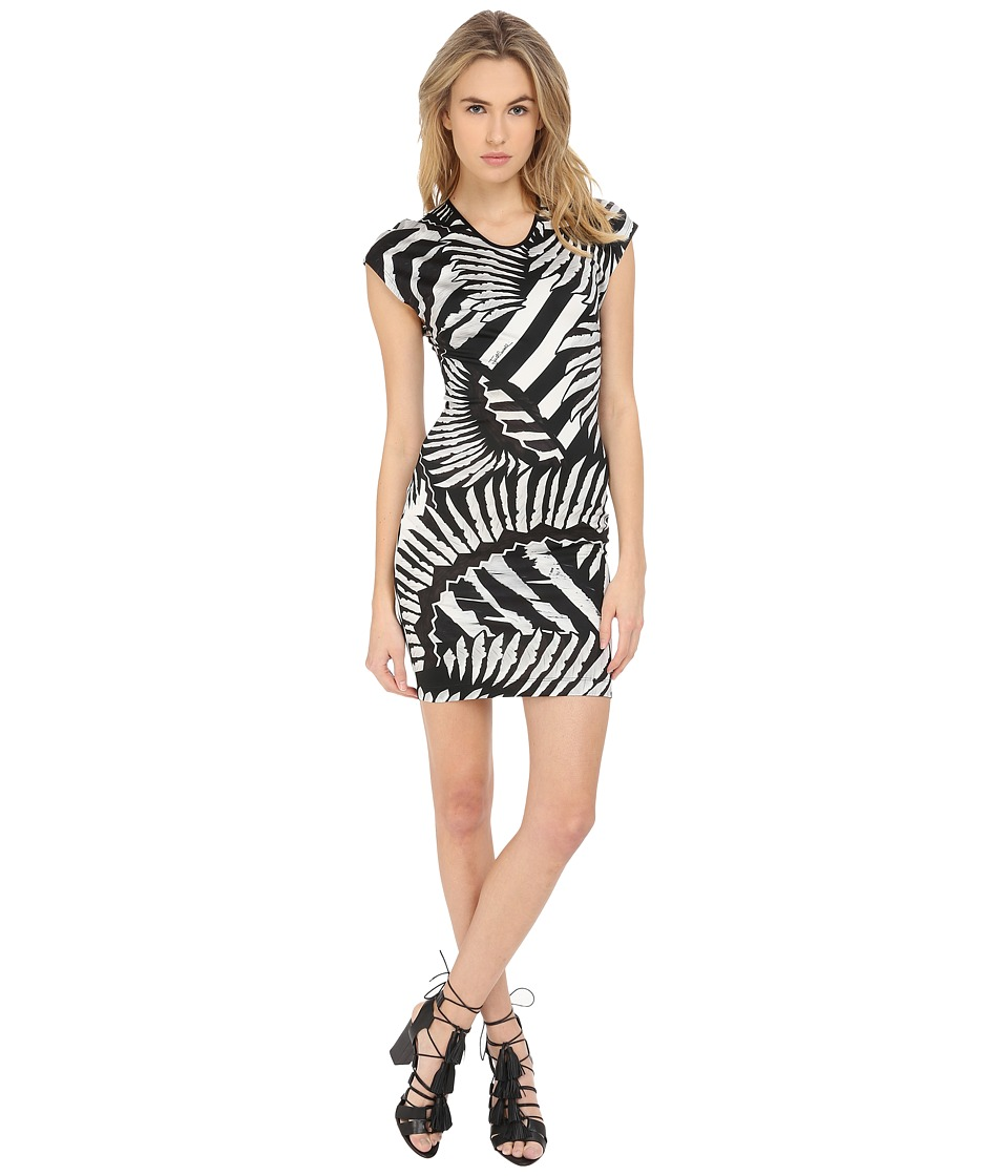 Just Cavalli - Kraken Print Cap Sleeve Cocktail Dress (White) Women's Dress