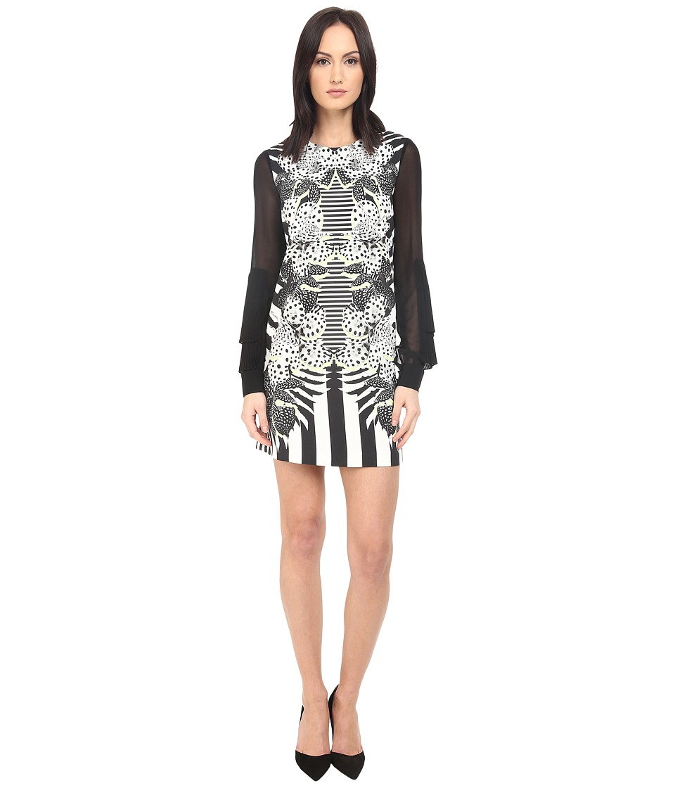Just Cavalli Maya Print Sheath Dress w/ Chiffon Sleeves (White) Women