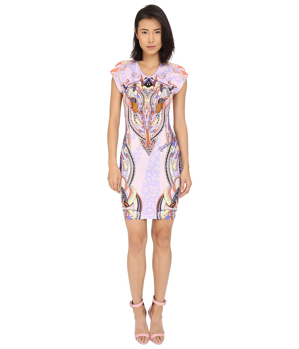 Just Cavalli Fitted Printed Jersey Short Sleeve Dress Leo Deco Print (Lux Violet) Women