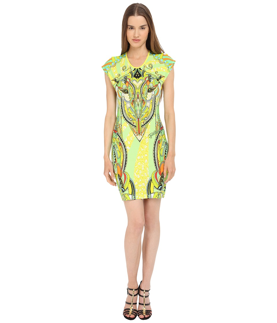 Just Cavalli - Fitted Printed Jersey Short Sleeve Dress Leo Deco Print (Lux Yellow) Women's Dress