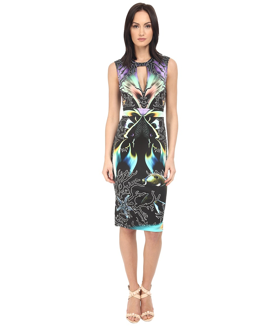 Just Cavalli Coral Fish Allover Placed Print Sleeveless Dress (Black) Women