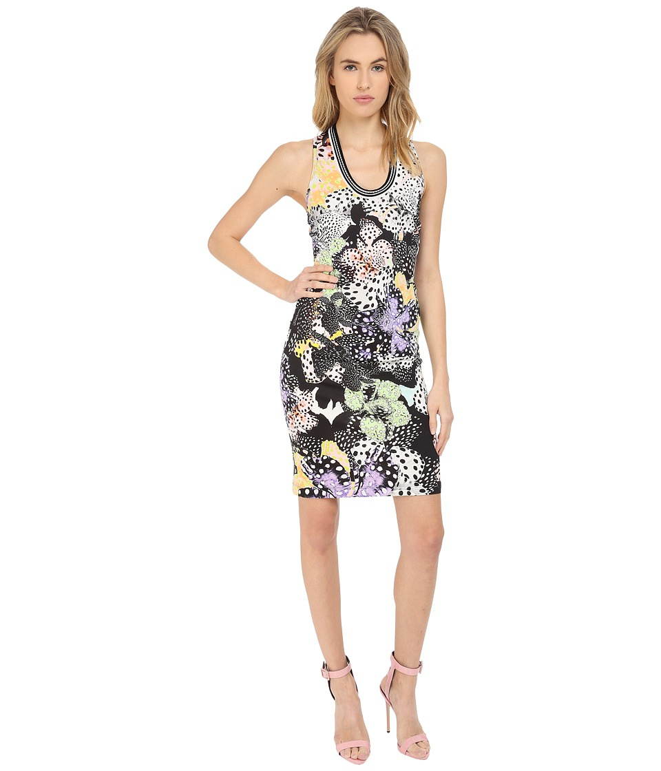 Just Cavalli Orchid Fish Print Cocktail Dress (Multicolor) Women