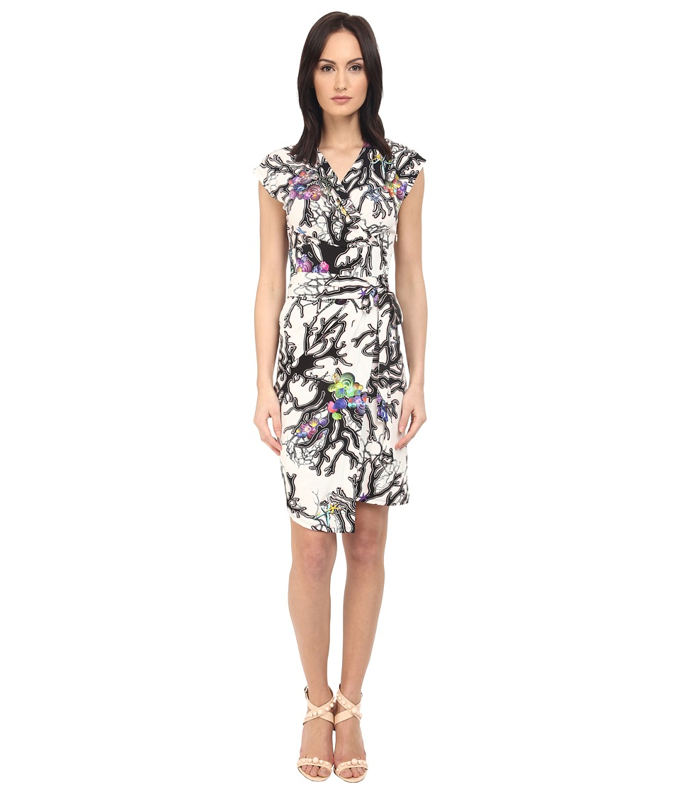 Just Cavalli Opticoral Print Jersey Cap Sleeve Dress (Off-White) Women