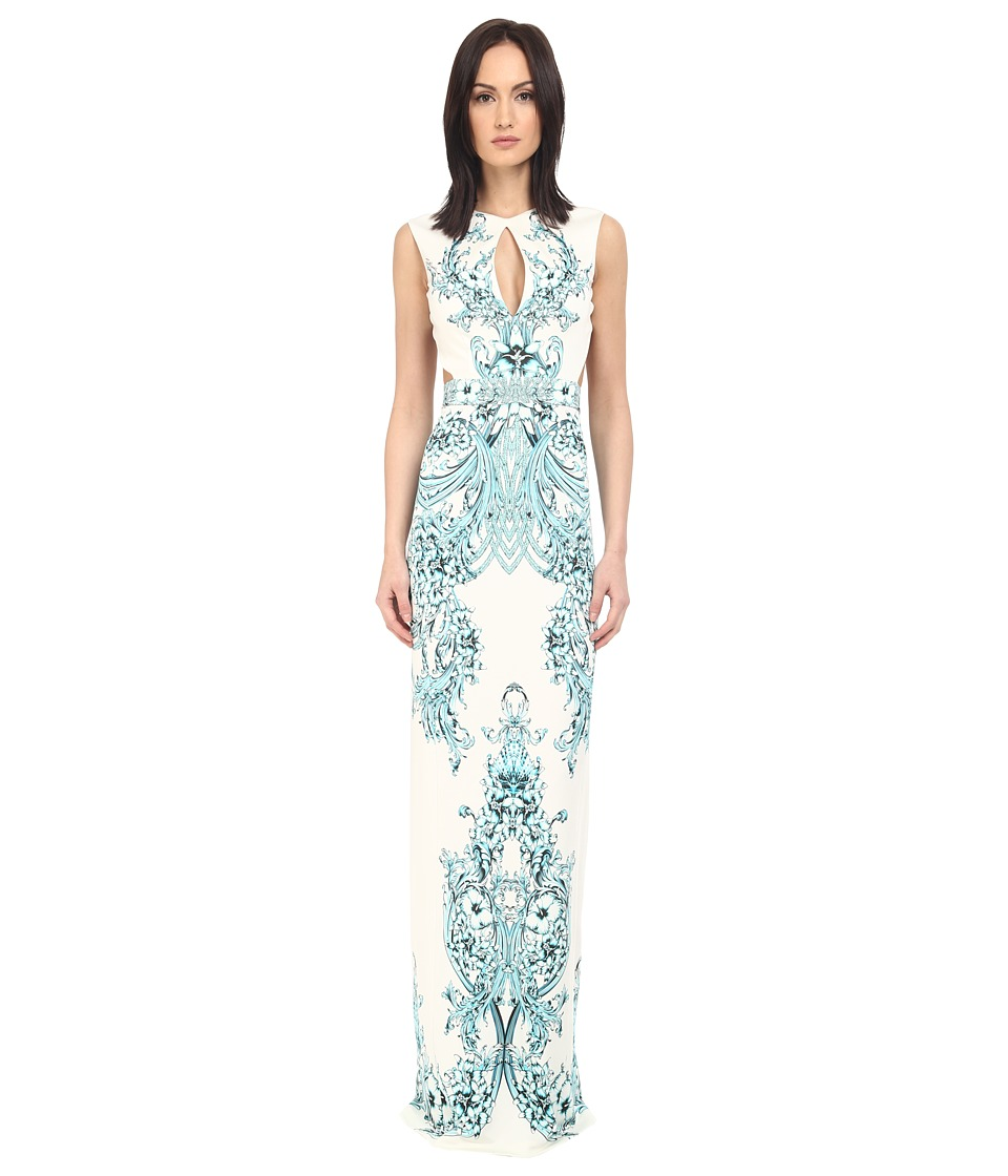 Just Cavalli Backless Keyhole Gown in Peacock Print (White) Women