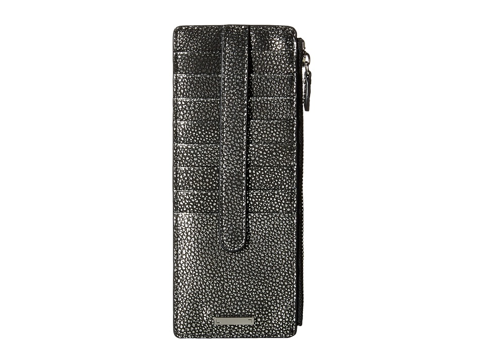 Lodis Accessories - Sophia Metallic Credit Card Case with Zipper Pocket (Black/Silver) Credit card Wallet