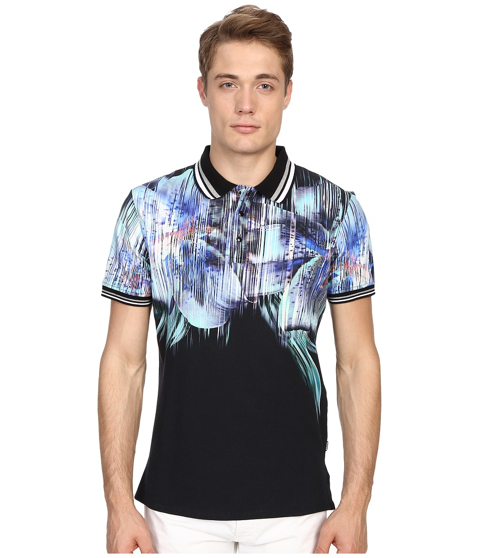 Just Cavalli - Tropical Ikat Print Short Sleeve Polo (Black) Men's Short Sleeve Pullover
