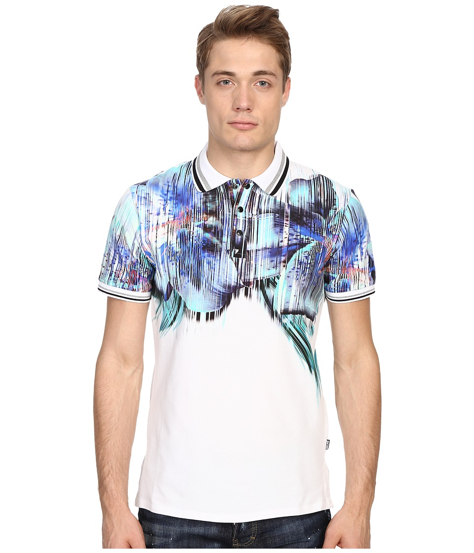 Just Cavalli - Tropical Ikat Print Short Sleeve Polo (White) Men's Short Sleeve Pullover