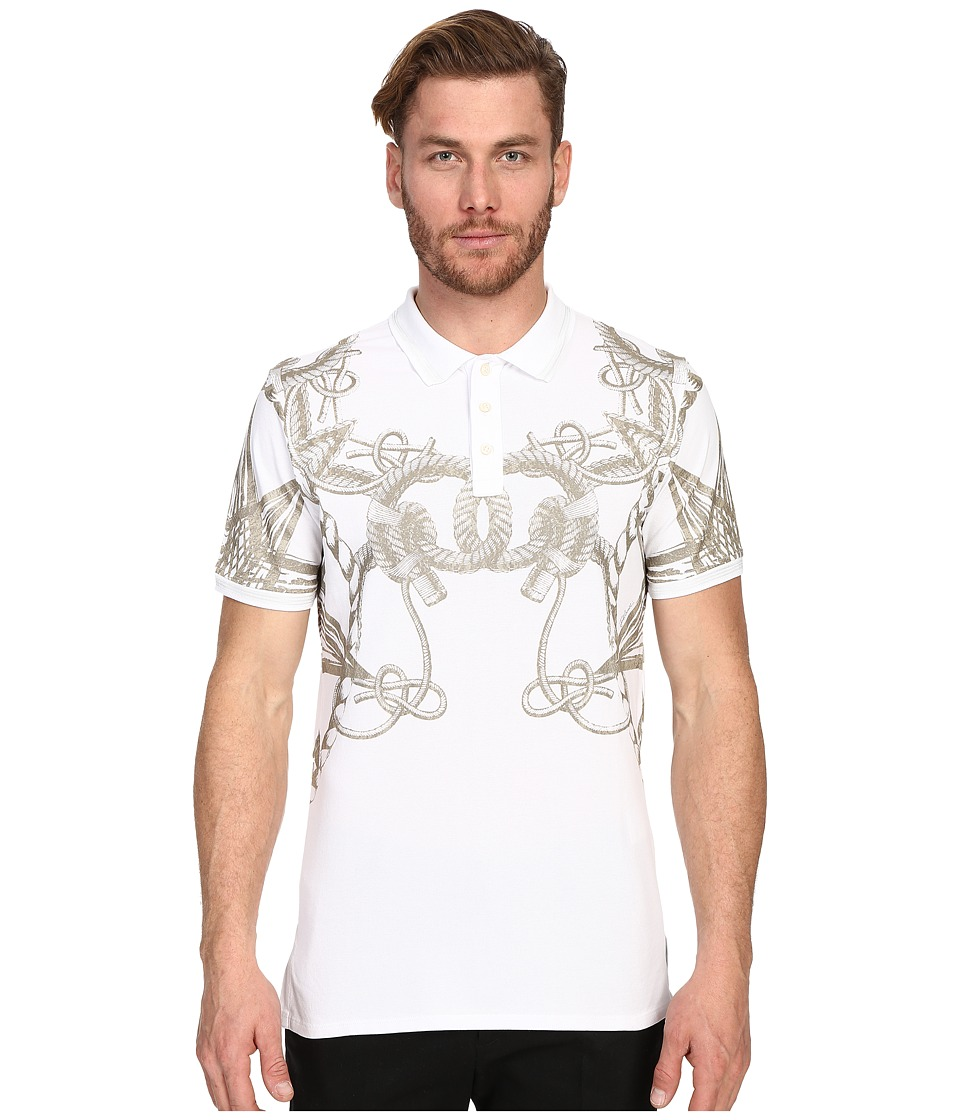 Just Cavalli - Gold Rope Print Short Sleeve Polo (White) Men's Short Sleeve Knit