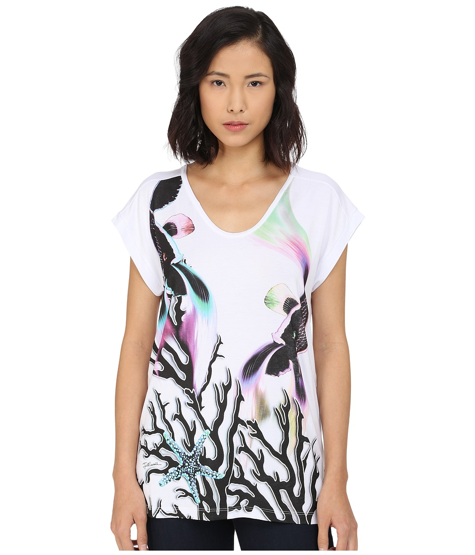 Just Cavalli - Coral Fish Print Viscose Boyfriend Tee (White) Women's Short Sleeve Pullover