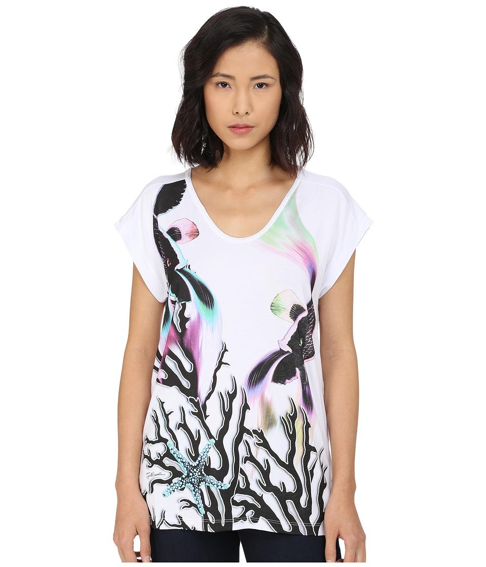 Just Cavalli - Coral Fish Print Viscose Boyfriend Tee (White) Women's Short Sleeve Pullover