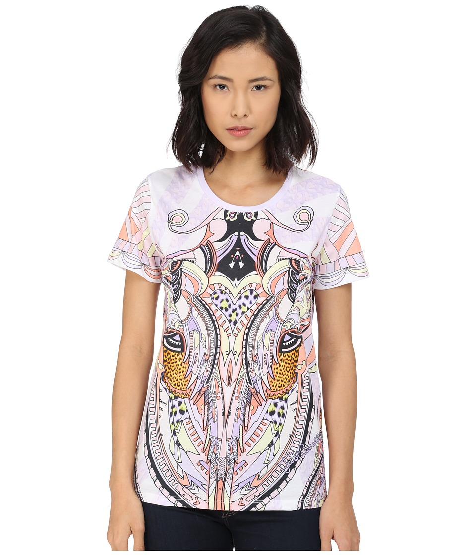 Just Cavalli - Leo Deco Print Cotton T-Shirt Relaxed Fit (Lux Violet) Women's Short Sleeve Pullover