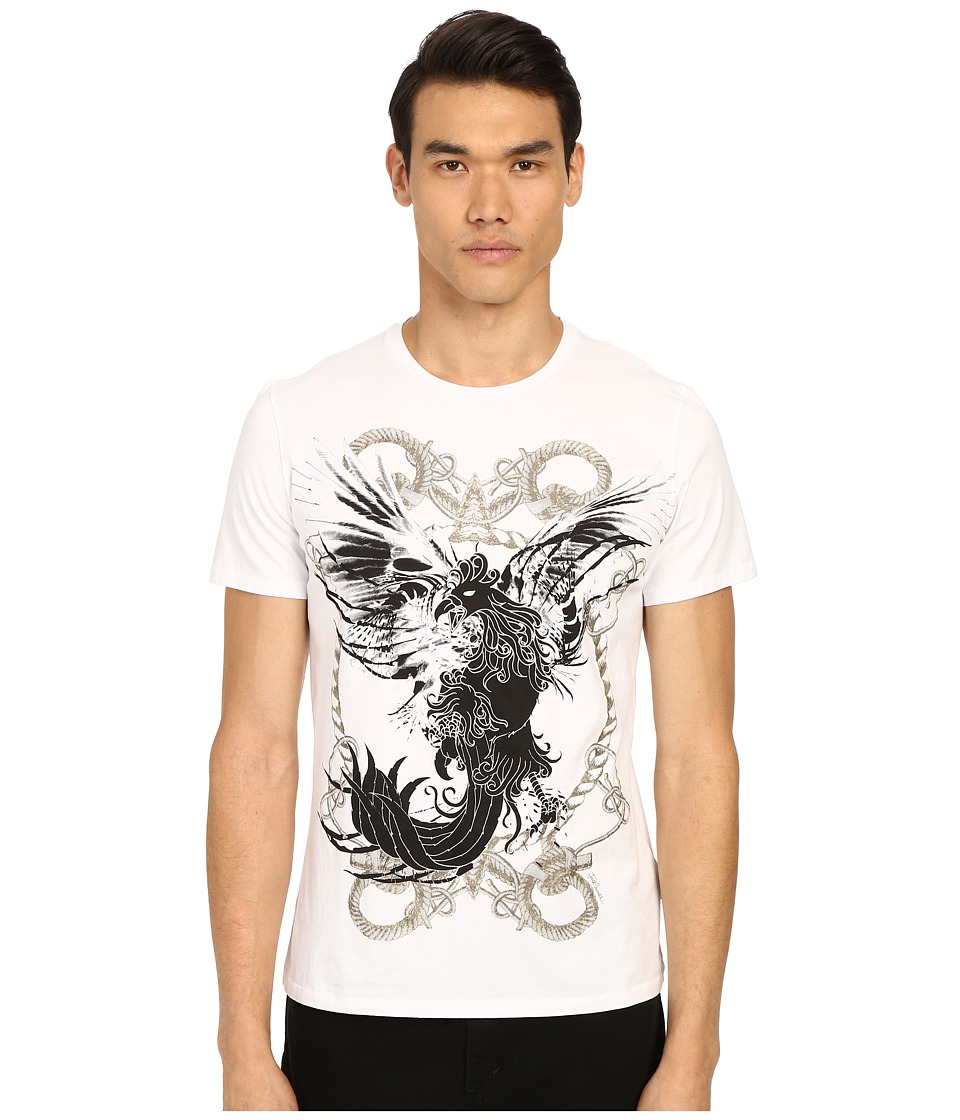 Just Cavalli - Rope and Phoenix Graphic Short Sleeve Tee (White) Men's Short Sleeve Pullover
