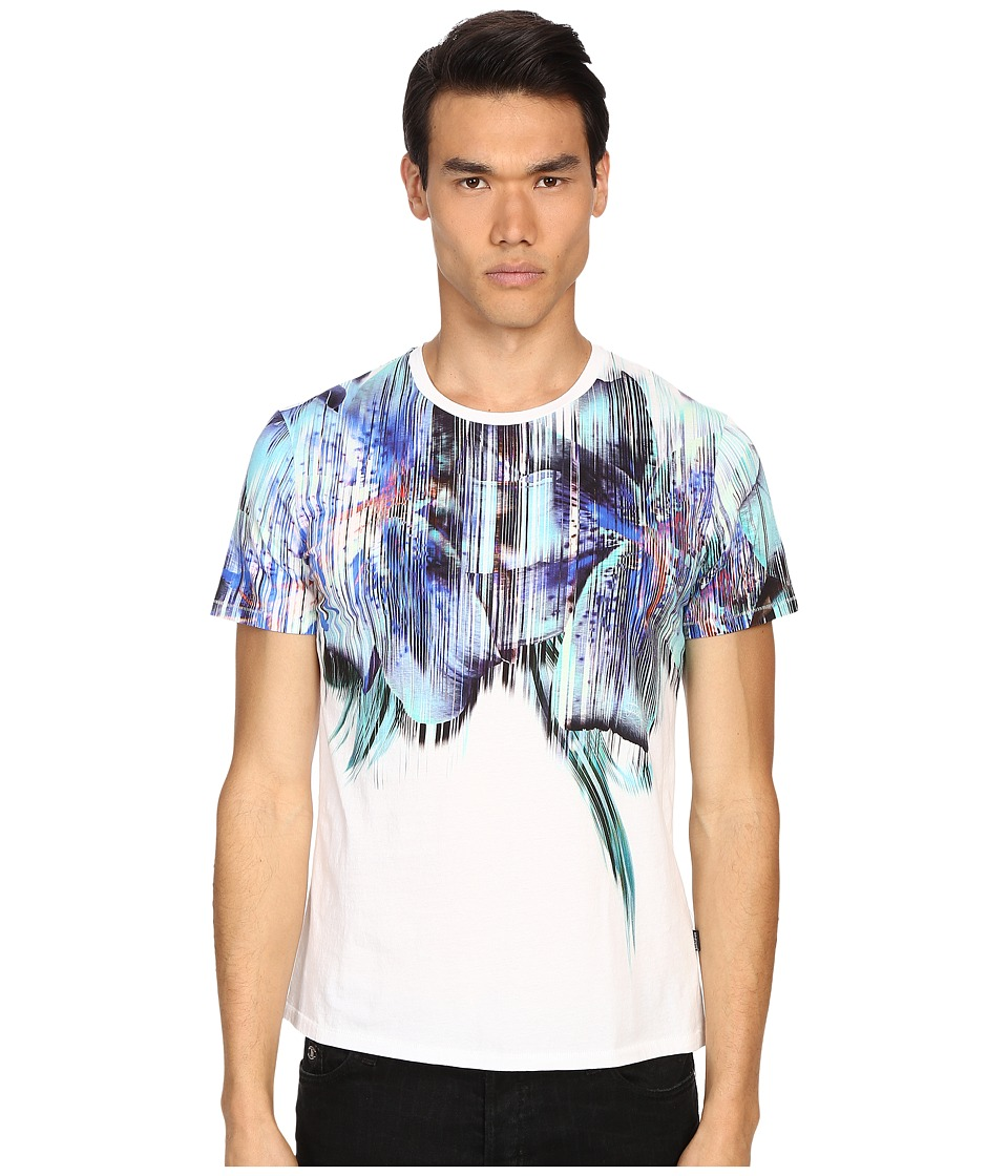 Just Cavalli - Tropical Ikat Print Short Sleeve Crew Neck Tee (White) Men's T Shirt
