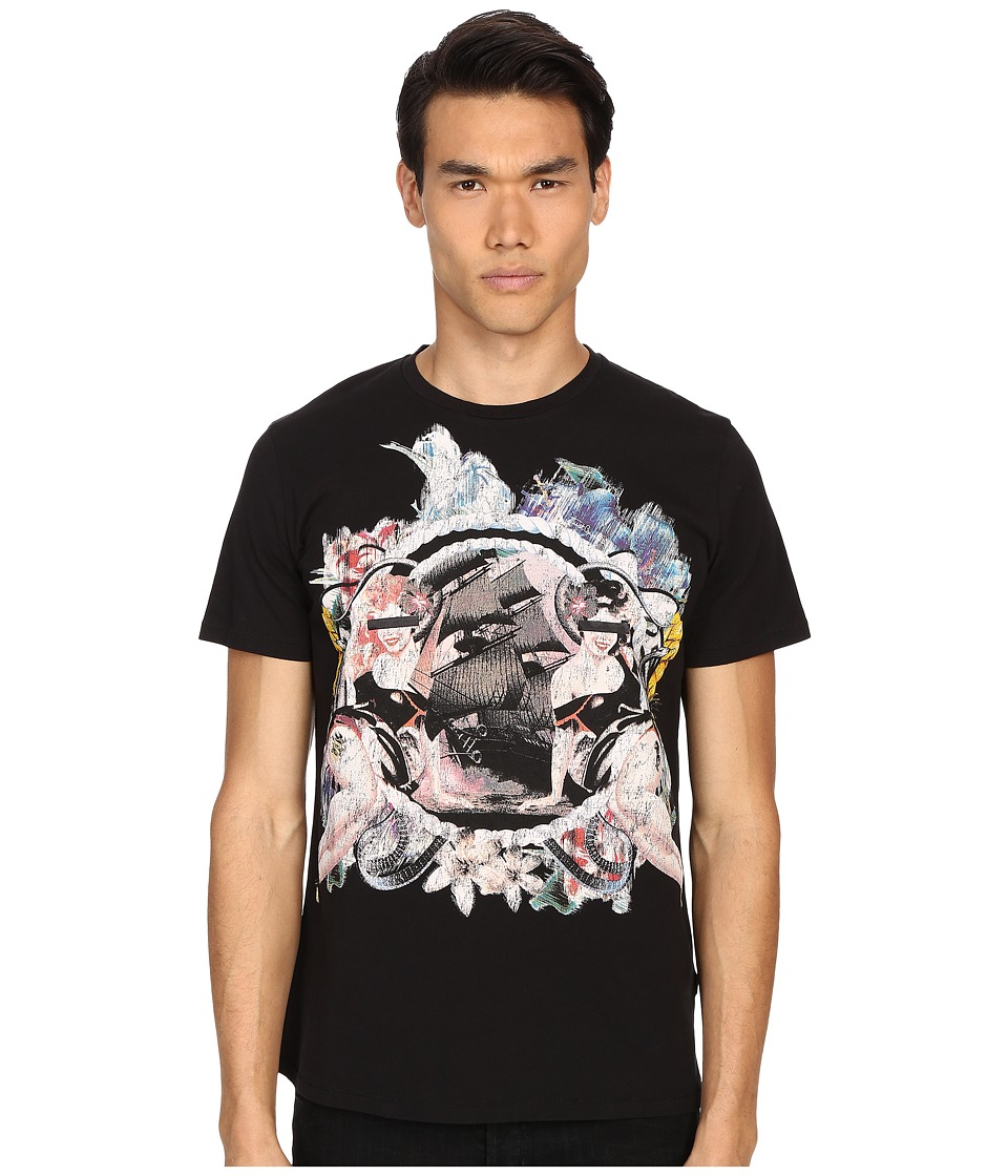 Just Cavalli - Pin Up Girl Graphic Short Sleeve Tee (Black) Men's T Shirt