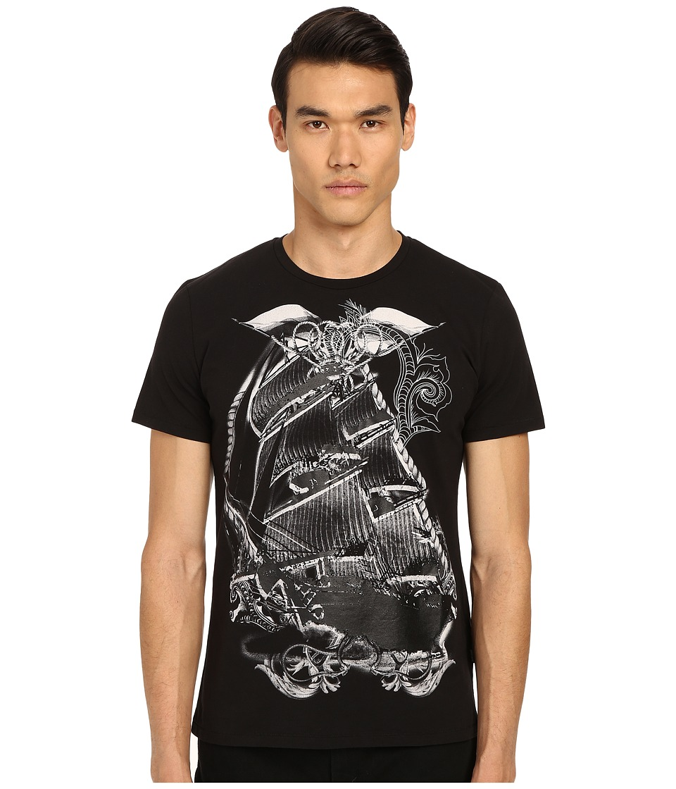 Just Cavalli - Pirate Ship Graphic Short Sleeve Tee (Black) Men's Short Sleeve Pullover