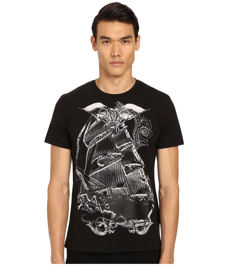 Just Cavalli - Pirate Ship Graphic Short Sleeve Tee (Black) Men's Short Sleeve Pullover