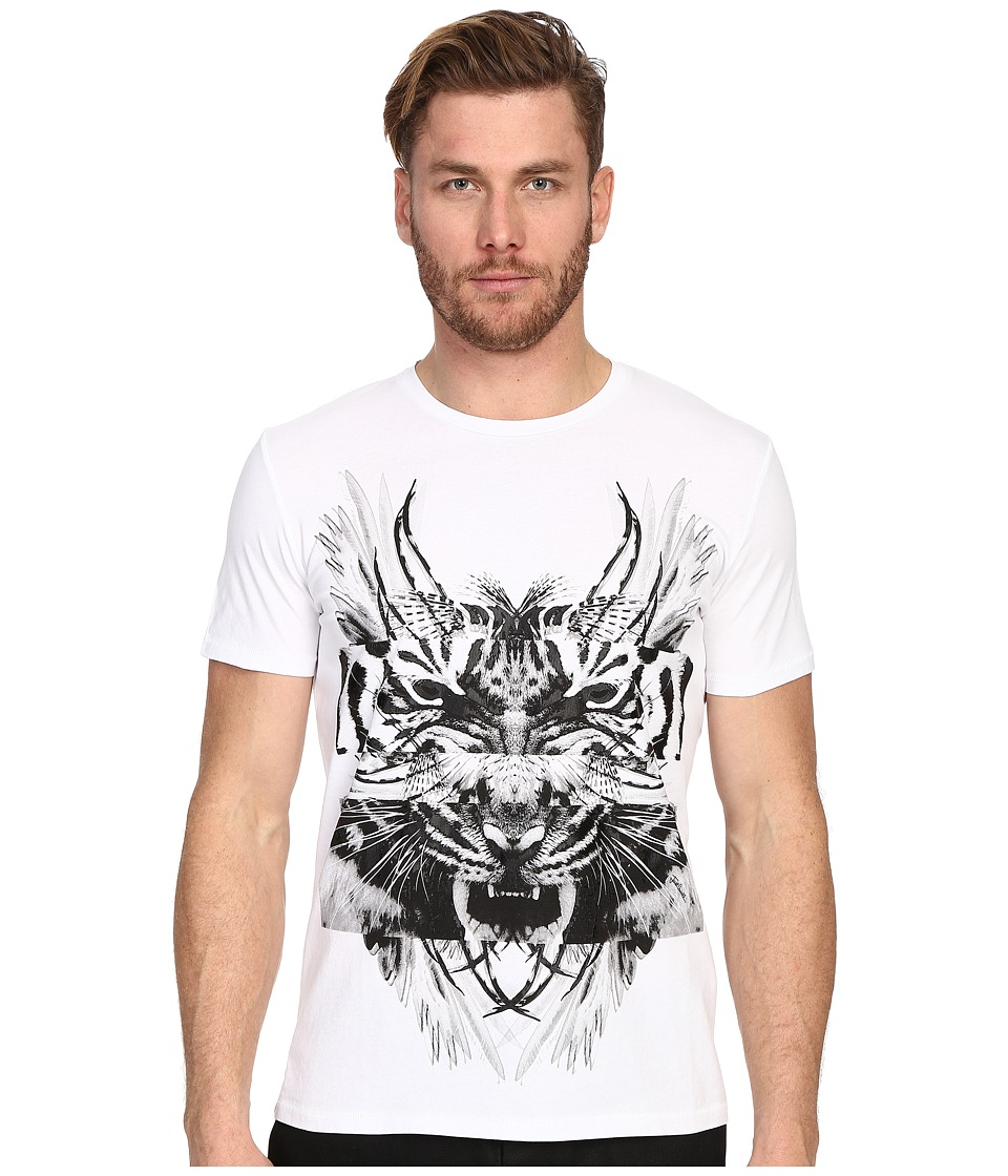 Just Cavalli - Tiger/Kraken Graphic Short Sleeve Tee (White) Men's Short Sleeve Pullover