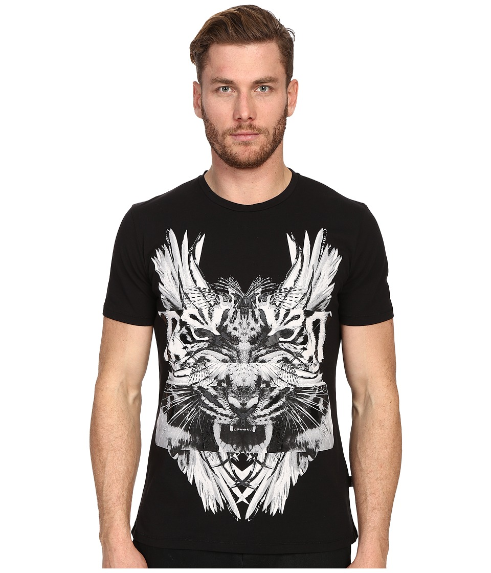 Just Cavalli - Tiger/Kraken Graphic Short Sleeve Tee (Black) Men's Short Sleeve Pullover