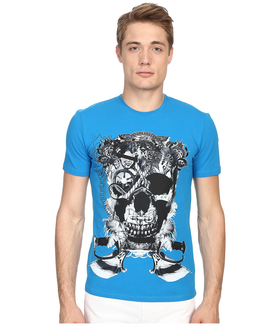 Just Cavalli - Skull Jersey Tee Shirt (Bali Blue) Men's T Shirt