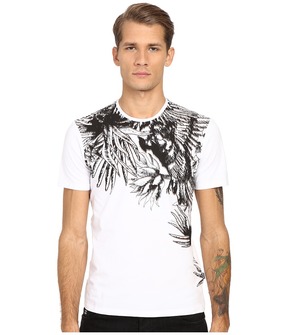 Just Cavalli - Palm Leaf Print Short Sleeve Tee (White) Men's T Shirt