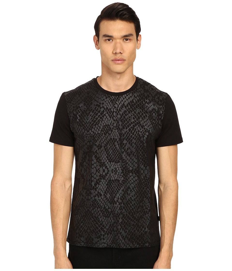 Just Cavalli - All Over Tonal Reptile Print Short Sleeve Tee (Black) Men's Short Sleeve Pullover