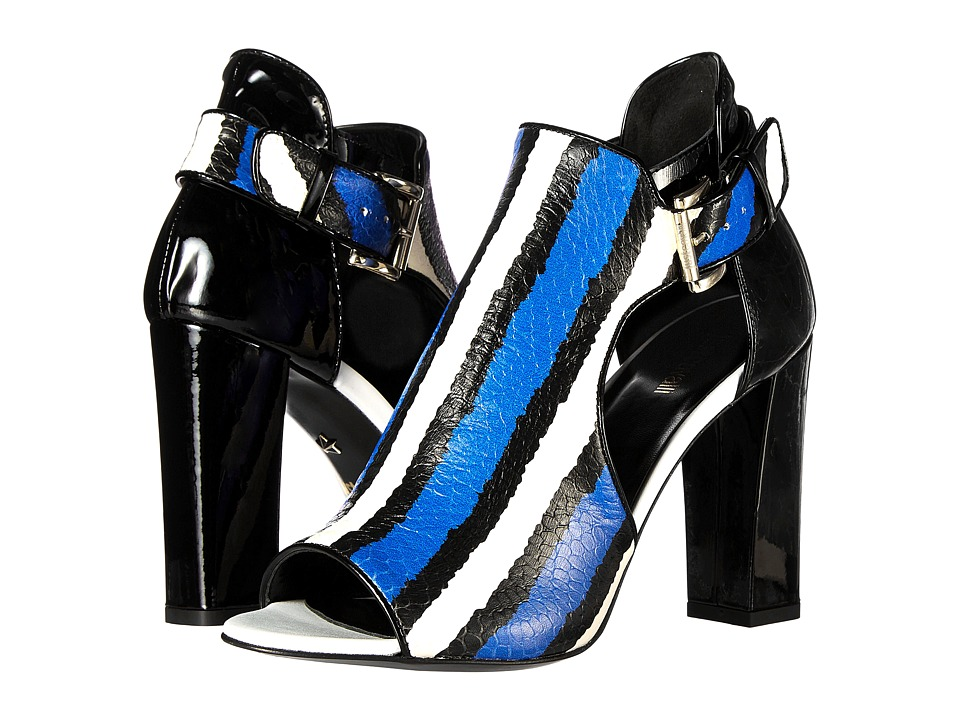 Just Cavalli - Striped Printed Leather Patent Leather Leather Sole (China Blue) High Heels