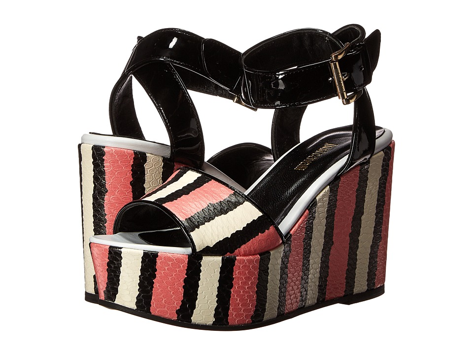Just Cavalli - Striped Printed Leather and Patent Leather (Pink) Women's Wedge Shoes