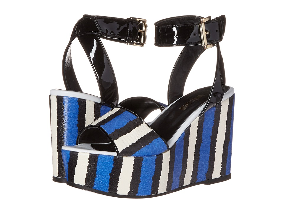 Just Cavalli - Striped Printed Leather and Patent Leather (China Blue) Women's Wedge Shoes