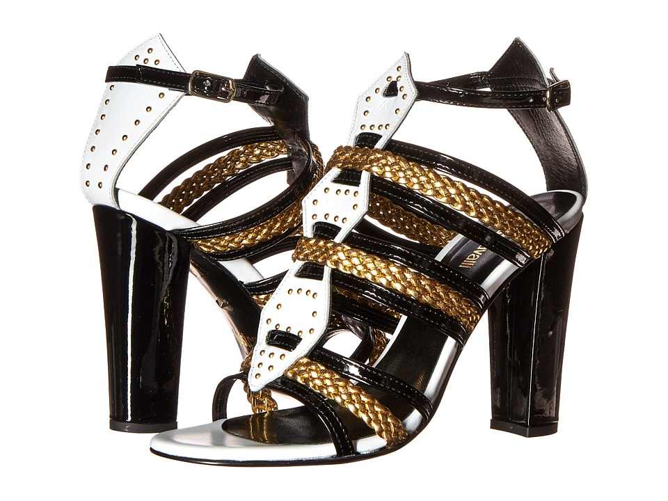 Just Cavalli - Calf and Patent Leather with Laminated Leather (Off-White) High Heels
