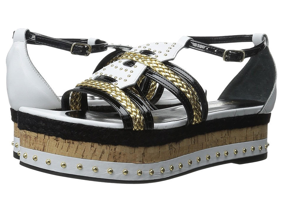 Just Cavalli - Calf and Patent Leather with Rope and Cork (Off-White) Women's Sandals