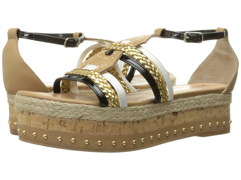 Just Cavalli - Calf and Patent Leather with Rope and Cork (Sand) Women's Sandals