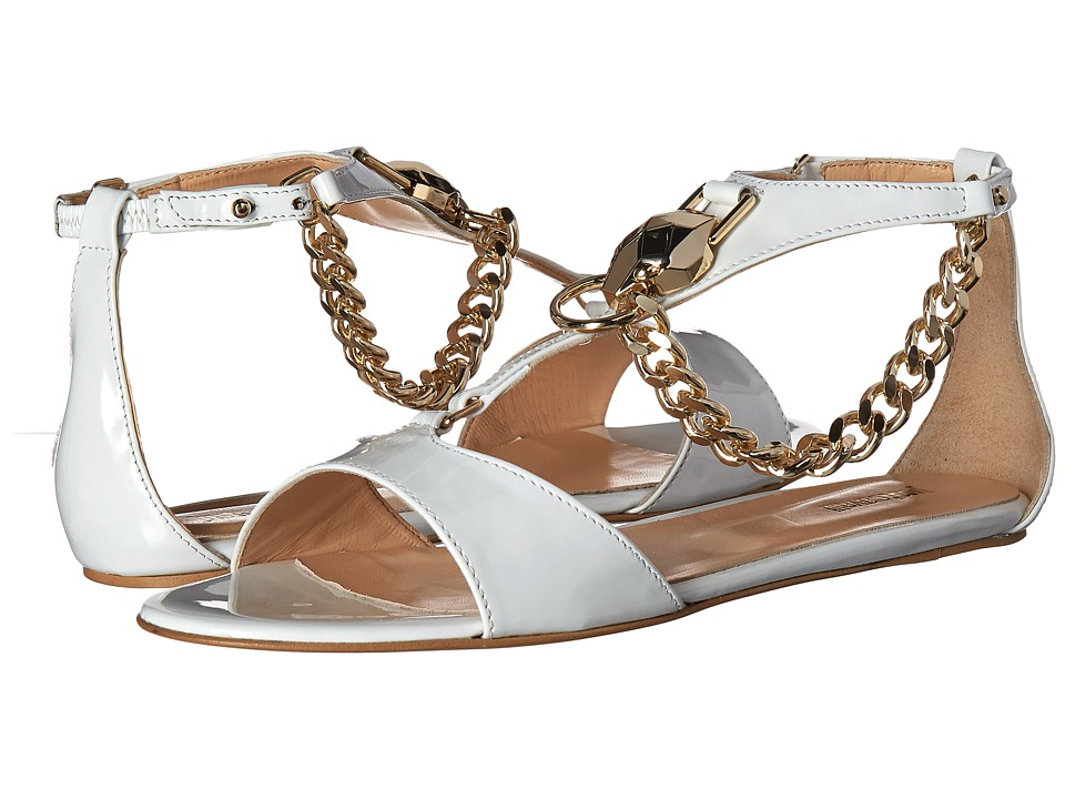 Just Cavalli Patent Leather with Metal Snake Off-White Womens Sandals