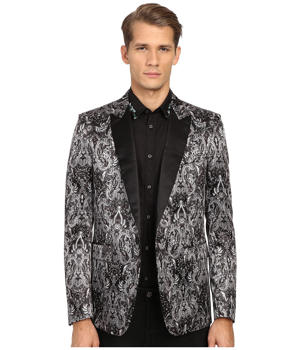 Just Cavalli - Royal Batik Print Satin Dinner Jacket (Black) Men's Jacket
