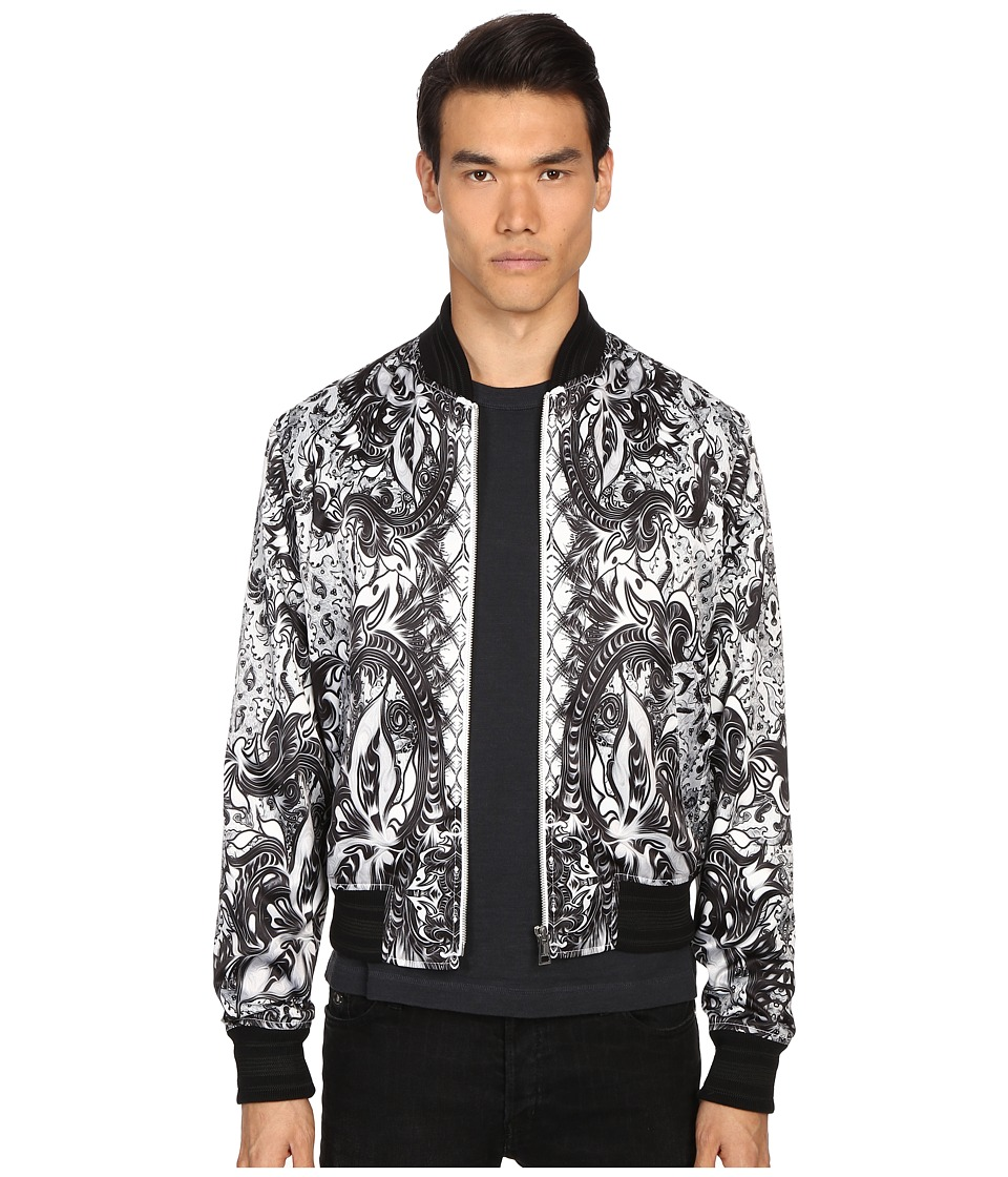 Just Cavalli - Royal Batik Bomber Jacket (White) Men's Coat