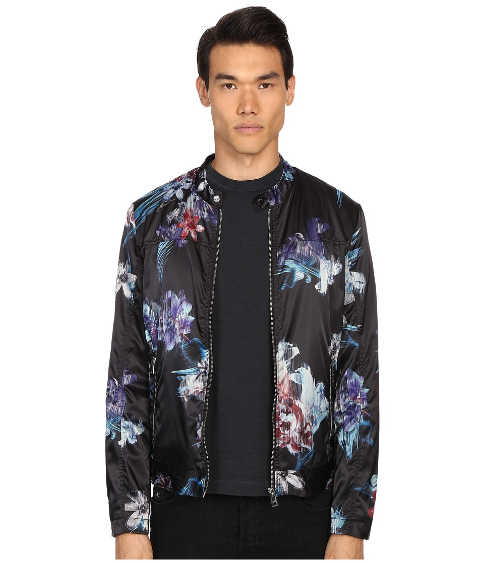 Just Cavalli - Tropical Ikat Print Nylon Bomber (Black) Men's Coat